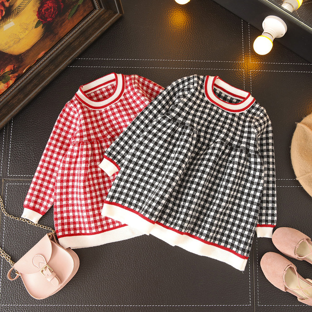 cc0bbcdb5ec New Girls Cloth Sweater Dress Plaid Pattern Fashion Little Girls Dress Girls  Princess Spring Autumn Dress