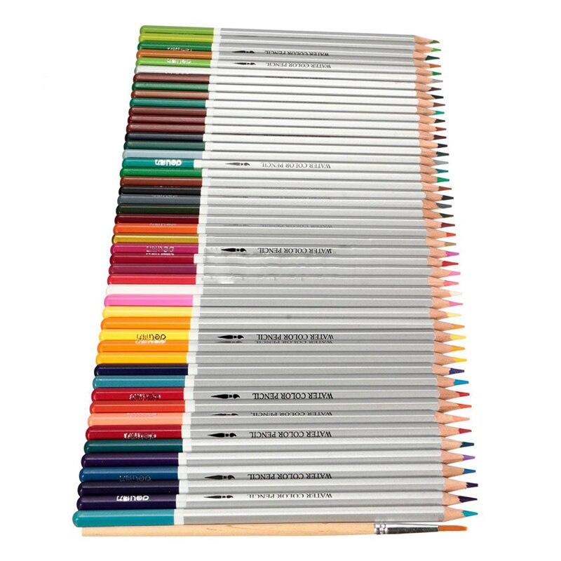 DELI Lápis de Cor solúveis em Água lápis de cor lápis De Madeira Lápis de Cor + escovas, 48 Cores