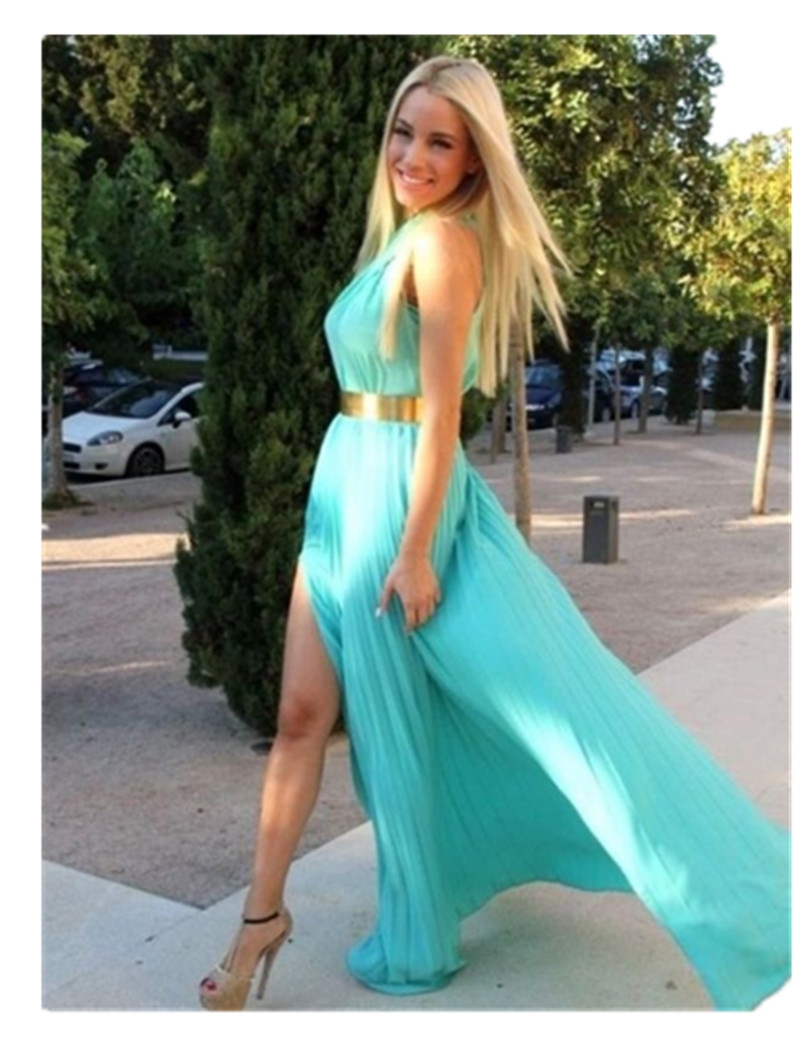 Wholesale 2018 In Stock Elegant Sleeveless A-Line Split Chiffon Party Formal Long robe de soiree Prom gown   bridesmaid     dresses