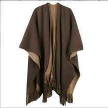 Большие размеры Deversible женские зимние вязаные кашемировые Пончо Накидки шаль кардиганы свитер пальто Q6-32E