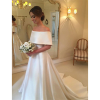 2018 Simple White Satin Wedding Dresses Boat Neck Off The Shoulder A Line Sweep Train High Quality Bridal Dress Robe De Mariage