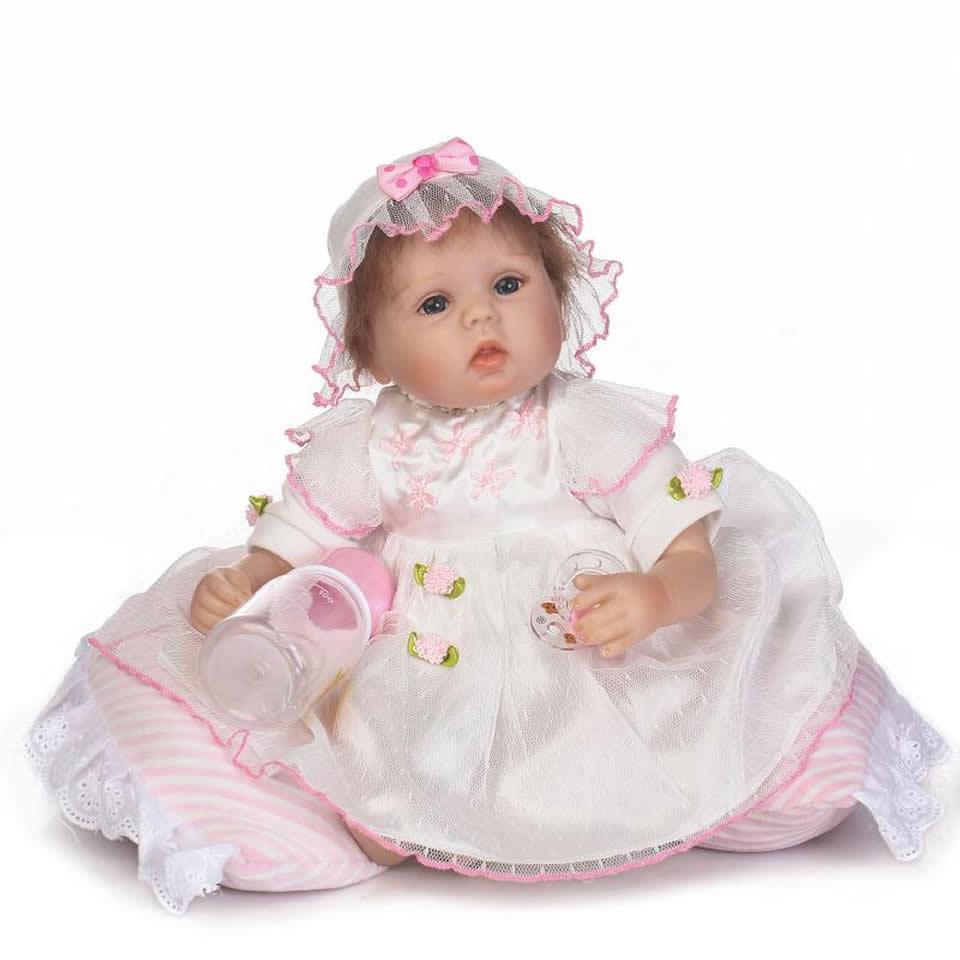 17'' Soft Silicone Lifelike Toddler Baby Dolls Girl Kids Toys Bebe Alive Reborn Boneca Silicone Dolls Children Birthday Gifts scary lifelike soft rubber hanging bat toys pair