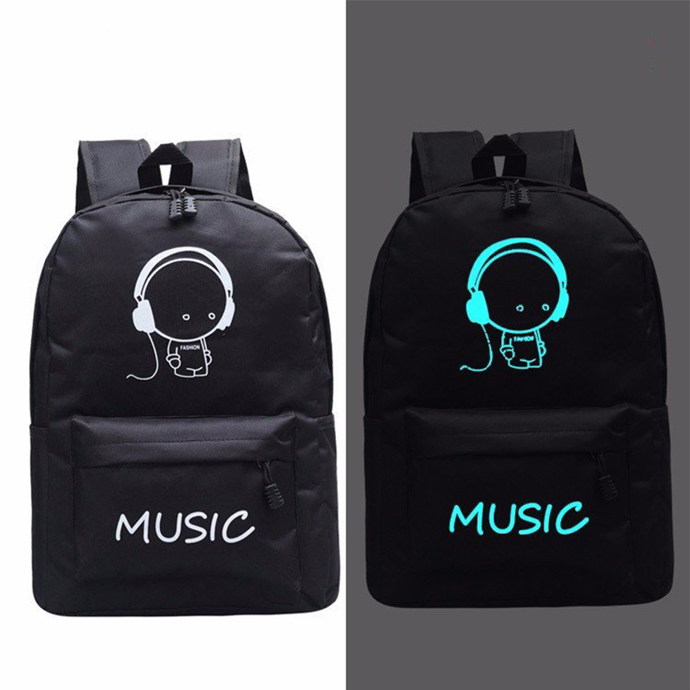 MUSIC Fashion Luminous Backpack Cartoon Printing School Bag Resistant Lightweight Travel Backpack for Teenage Bagpack H30516MUSIC Fashion Luminous Backpack Cartoon Printing School Bag Resistant Lightweight Travel Backpack for Teenage Bagpack H30516