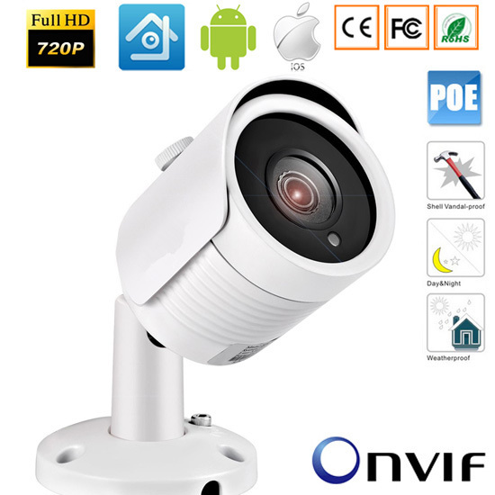 1.0/1.3/2,0 Megapixel HD Network 48V POE IR-Bullet Camera CMOS Outdoor ONVIF IP camera h 264 CCTV Security Systems xmeye 720p hd ip camera poe onvif 3 6mm lens ir cctv security surveillance camera 1 0mp network dome cameras xmeye app xmeye view