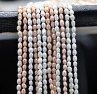 White Pink Purple Color Genuine Freshwater Pearl Loose Beads Oval Pearl 4x5mm One Full Strand DIY Jewelry Strand