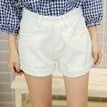 JIBAIYI marca pantalones cortos de mezclilla de las mujeres 2017 harajuku denim blanco pantalones acampanados femeninos bolsillos lindos kawaii cortos kawaii verano flojo grande