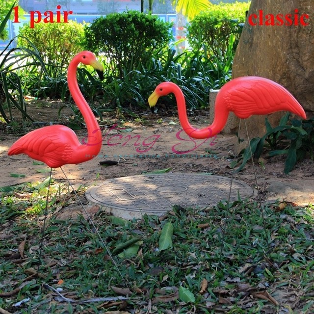 buy 1pair plastic red flamingo garden. Black Bedroom Furniture Sets. Home Design Ideas
