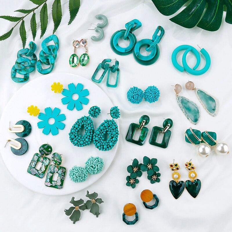 AENSOA 2019 Korean Geometric Pendant Earrings Multiple Drop Earrings Unique Design Flowers Resin Acrylic Shell Dangle Earring