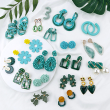 AENSOA 2019 Korean Geometric Pendant Earrings Multiple Drop Unique Design Flowers Resin Acrylic Shell Dangle Earring