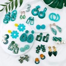 AENSOA-pendientes colgantes geométricos coreanos, múltiples pendientes colgantes únicos, diseño de flores, de resina acrílica, 2021