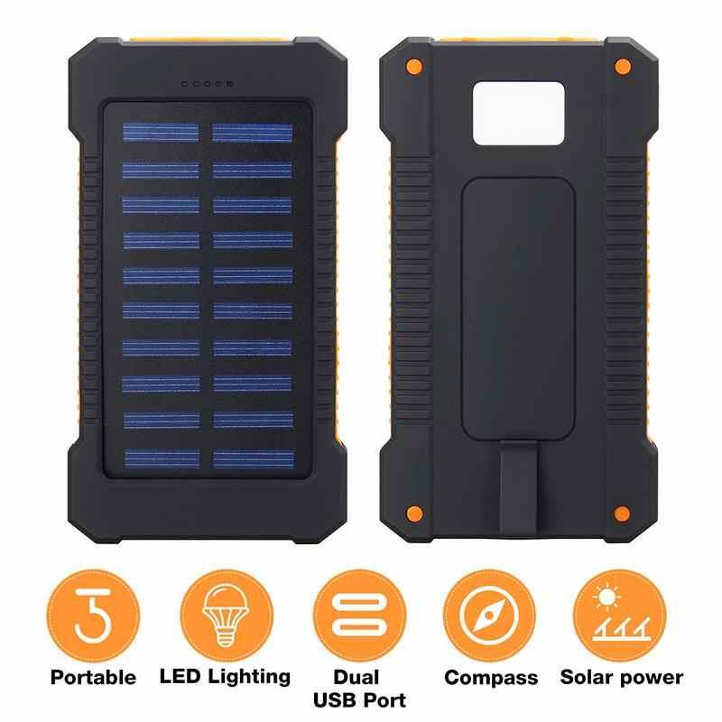 Top 30000 MAh Solar Power Bank Solar Charger 2 Port USB Travel Charger Eksternal Powerbank dengan Kompas Lampu LED