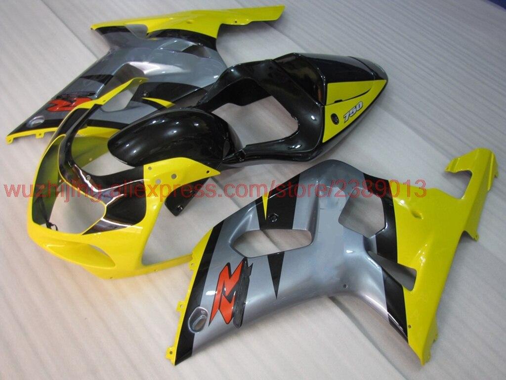 GSX-R1000 2000-2003 K1 K2 02 03 Наборы тела GSX R 600 750 1000 02 03 желтый серебристый черный обтекателя наборы GSX-R750 02 03 обтекатель