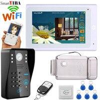 SmartYIBA RFID Password Wifi Wireless Video Door Phone Doorbell Intercom Kit With 7 Inch Monitor Electric Door Lock Exit Switch