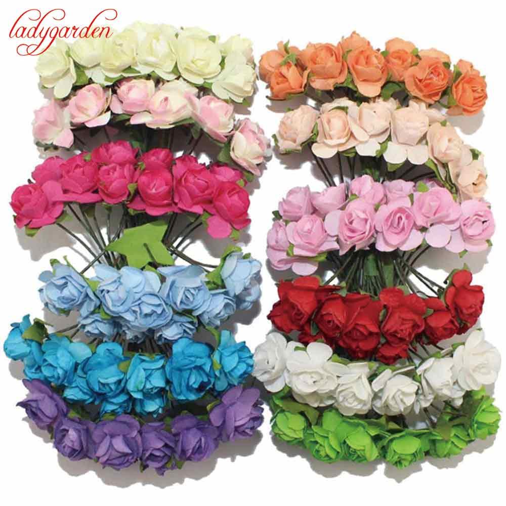 36pcs lot Scrapbooking Artificial Mulberry Paper Rose Bouquet Wire Stem Wedding Artificial Flowers for Decoration Home Decor