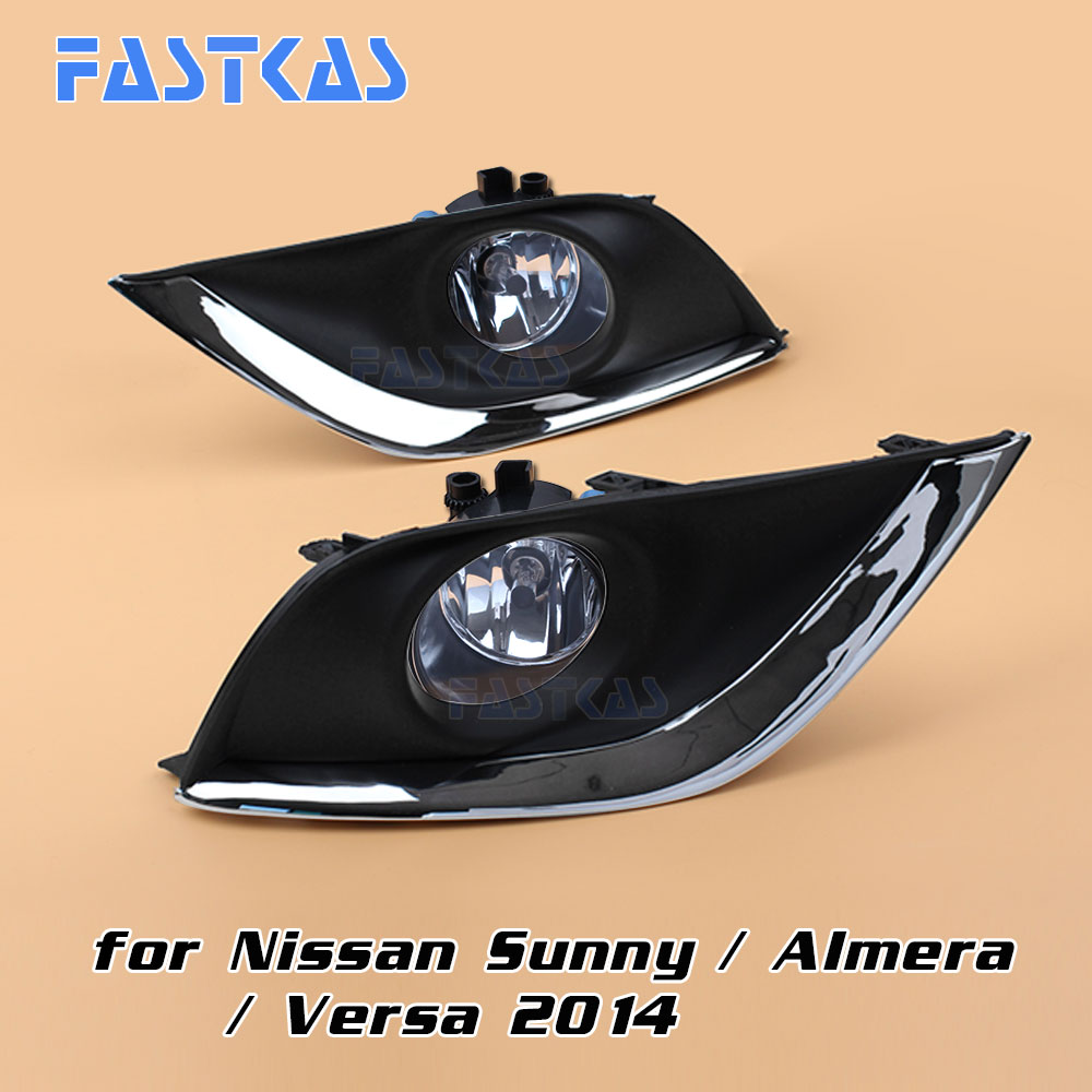 12v 55W Car Fog Light Assembly for Nissan Sunny/ Almera / Versa 2014 (US Type) Front Fog Light Lamp with Harness Relay Fog Light 12v 55w car fog light assembly for ford focus hatchback 2009 2010 2011 front fog light lamp with harness relay fog light