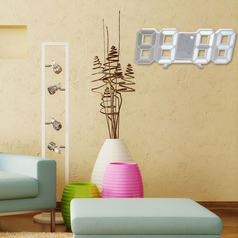 3D LED Wall Clock Modern Digital Table Desktop Alarm Clock Nightlight Wall Clock For Home Living Room Office 24 Or 12 Hour