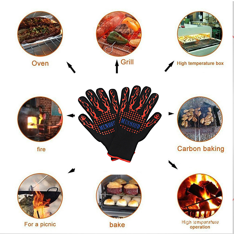 Safety Cooking Gloves Silicone Kitchen Barbecue Oven Cooking Glove BBQ High Temperature Resistant Double Knit Protective Forearm alex clark rooster double oven glove