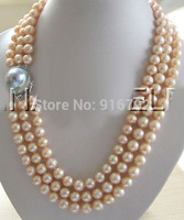 Free Shipping Wholesale17 19 3row 9mm pink round freshwater pearl necklace 925 silver blister pearl c