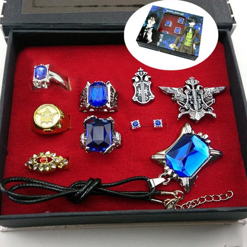 все цены на 9 pcs/set fashion Black butler Kuroshitsuji Ciel Phantomhive Cosplay Rings+ Necklace+Ear-nail earring studs Jewelry Set