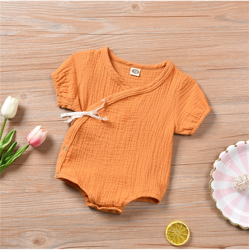 0-18M Newborn Kids Baby Boy Girls Clothes Summer Short Sleeve Plain Romper Elegant Casual Cute lovely Outfits new born Sunsuit