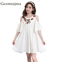 Pregnant Women Summer Dress Fashion Pregnant White Dress Short Sleeved Embroidery Dresses Pregnancy Wear with Shoulder Sleeve