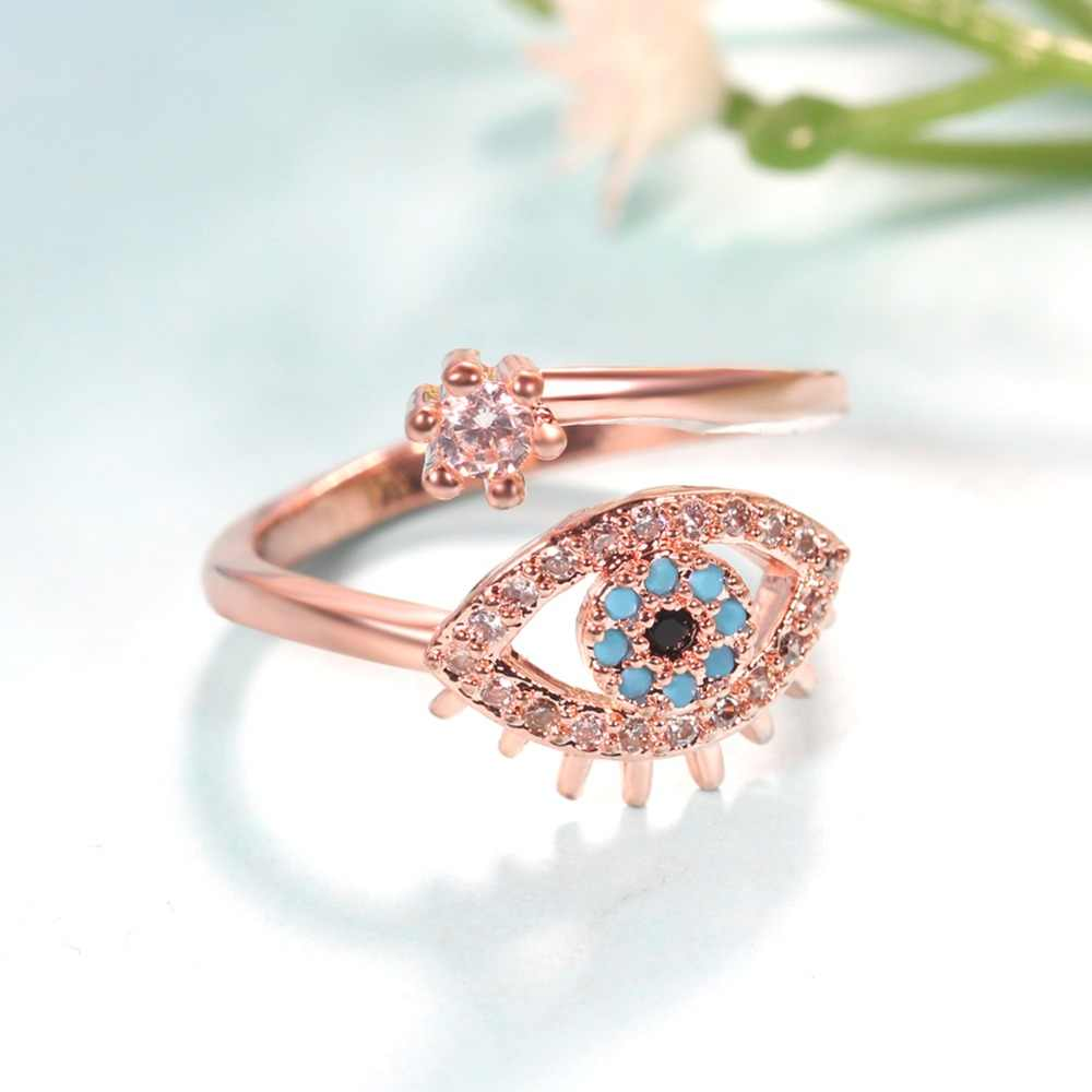0f5119f4da6a7 ERLUER Evil eye Rose Gold Open Finger Rings For Women Crystal CZ party  Fashion Jewelry female Trendy gift Adjustable ring