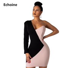 Pink and Black Patchwork OL Dress One Shoulder Elegant Office Ladies Club Party Mini Bodycon Business Woman Vestidos