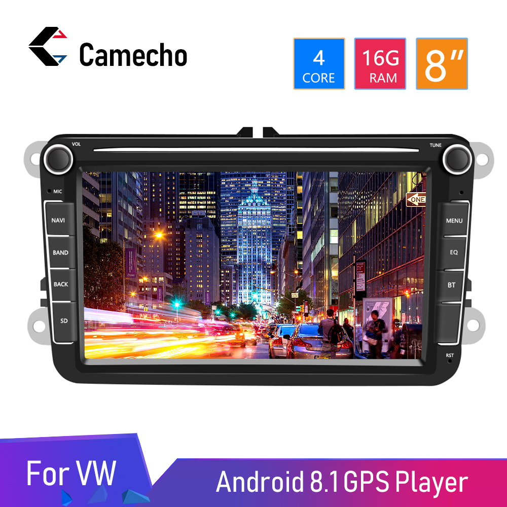 Camecho Android 8.1 MP5 Rádios GPS 8 polegada Áudio Estéreo Multimídia Player Do Carro Para Seat/Skoda/Passat/ golf/Polo Auto Rádio Bluetooth