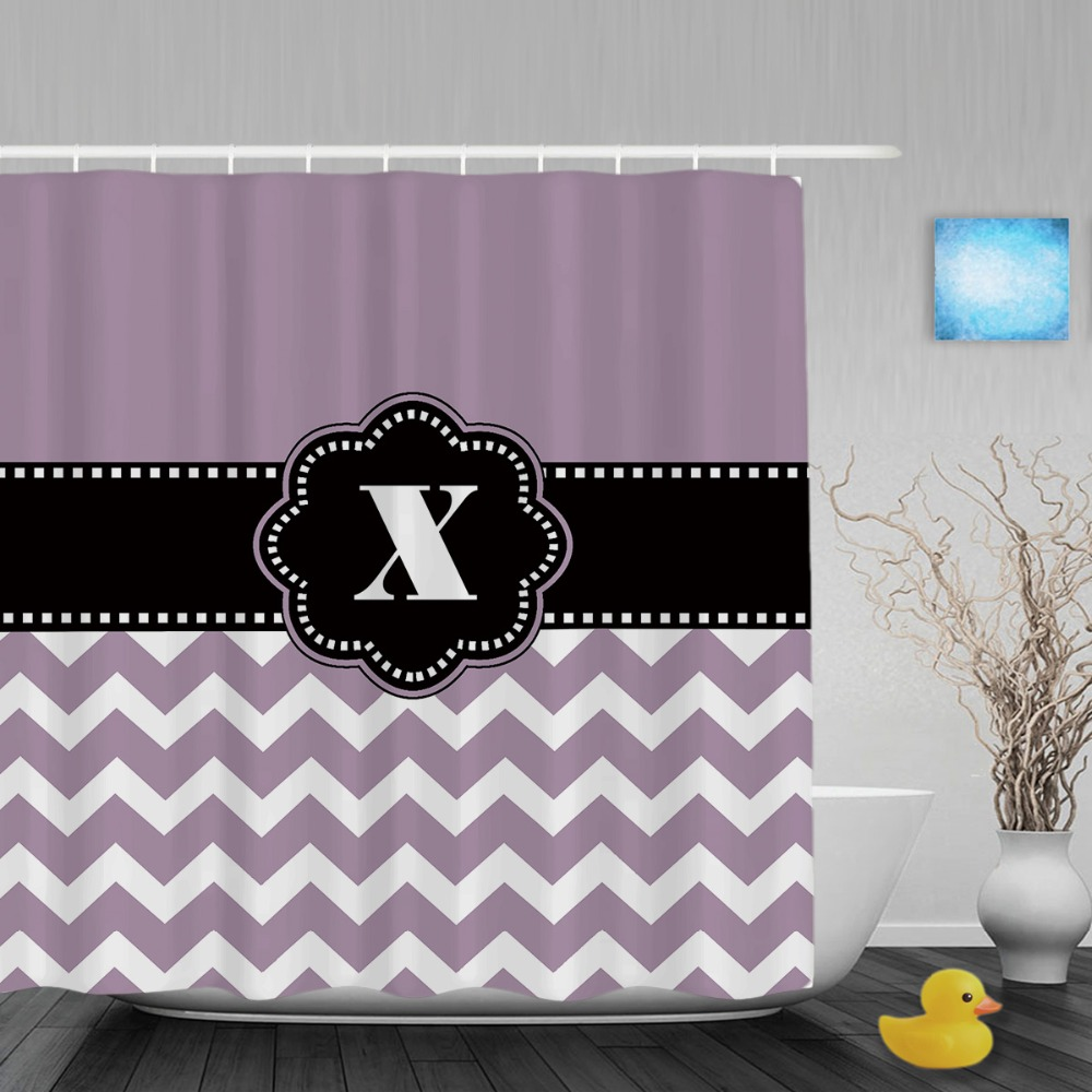 Personalized Black Monogram Decor Bathroom Curtains Purple Striped Polyester Fabric Shower Curtain Hooks