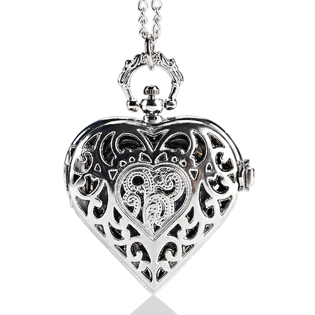 Luxury Hearts Shaped Hollow Crystal Quartz Pocket Watch Pendant Necklace Chain W