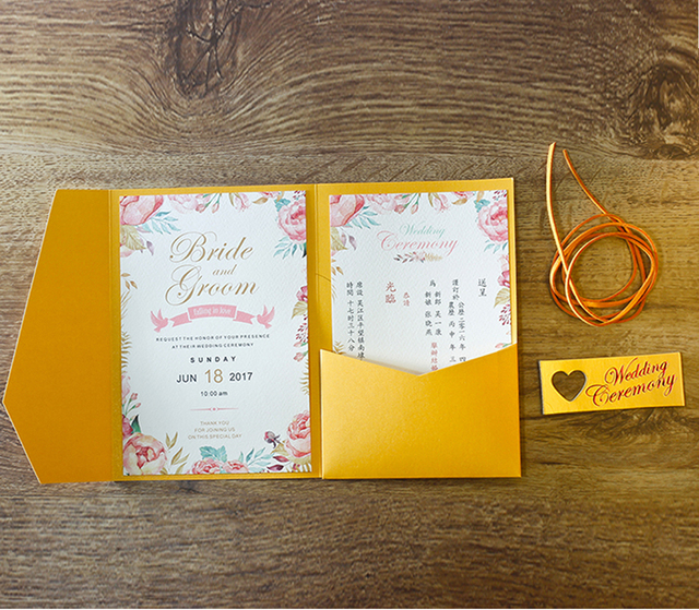 Golden wedding invitations envelope with custom wording invite cards golden wedding invitations envelope with custom wording invite cards golden pocket invitation cards set stopboris Images
