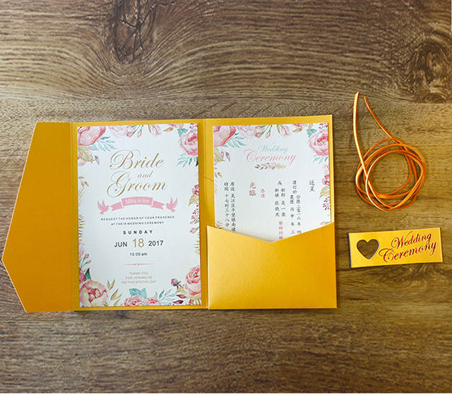 Us 125 0 Golden Wedding Invitations Envelope With Custom Wording Invite Cards Golden Pocket Invitation Cards Set Of 50 Pcs In Cards Invitations