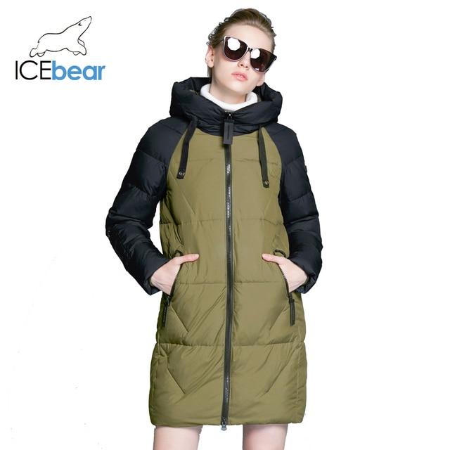 ICEbear 2018 Новинка высококачественное ветрозащитное тёплое модное зимнее пальто удлинённая облегающая парка 17G637D