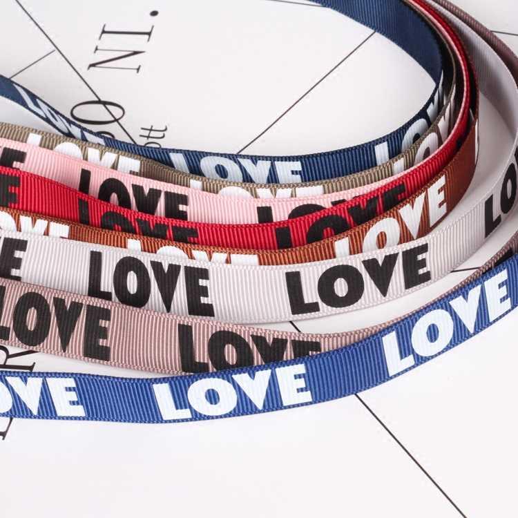 """Nuovo Arrivo 1 metro (16mm) multicolore nastro del grosgrain di san valentino stampato """"AMORE"""" nastro del cuore di amore regalo nastro nastri di imballaggio"""