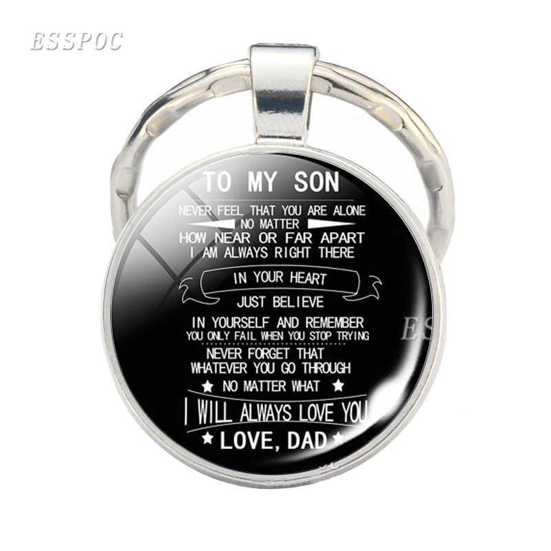 A Minha Filha Filho Chaveiro Nunca Se Sentir Que Você Está Sozinho Citação Vidro Cabochão Jóias Chaveiro Amo O Pai A Mãe pingente de Presente da Criança