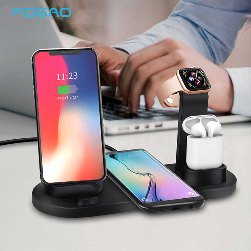 10W 4 ב 1 Qi טעינה אלחוטי תחנת Dock עבור אפל שעון 5 4 3 2 AirPods מטען עבור iPhone 11 XS XR X 8 סמסונג S20 S10 S9