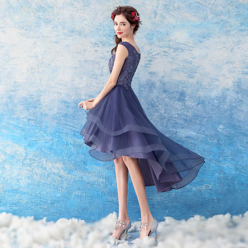 2a1e315c5b5a8 ... SSYFashion New Elegant Banquet Cocktail Dress Sleeveless Lace Flower  High/low Asymmetrical Purple Party Gown ...