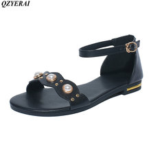2018 new 100% cowhide summer flat sandals fashion beaded womens shoes bag and strap sandals