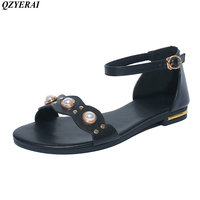 2018 New 100 Cowhide Summer Flat Sandals Fashion Beaded Womens Shoes Bag And Strap Sandals