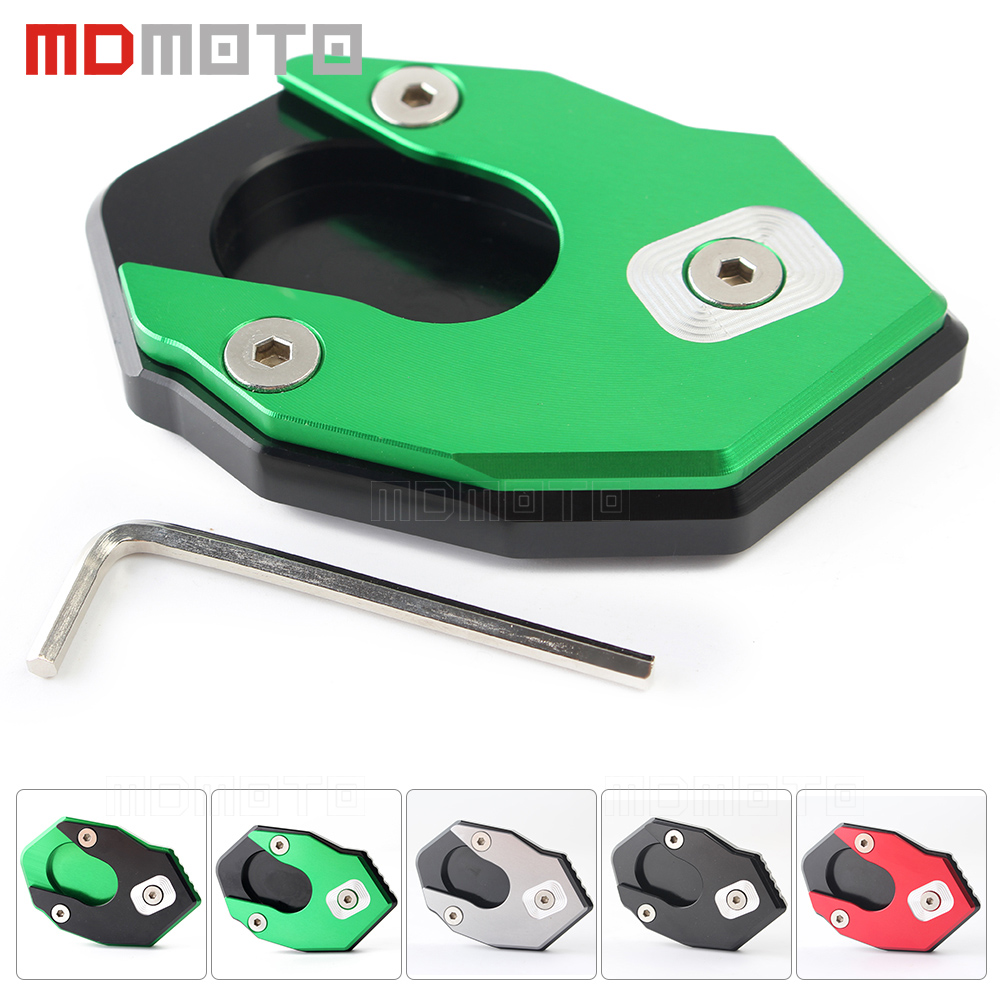 motorcycle Side Stand Enlarger Plate Pad kickstand Extension cover For kawasaki Z900 Z650 Z1000 Z1000SX ER6N ER6F ZX6R ZX10R motorcycle side stand enlarger cnc kickstand side stand extension enlarger pate pad for bmw f800gs