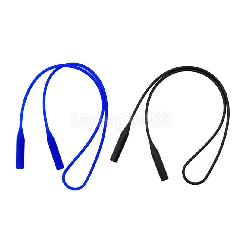 2pcs Elastic Soft Silicone Eyeglass Neck Strap Glasses Sunglasses Cord Holder Band Rope Retainer - Black Blue