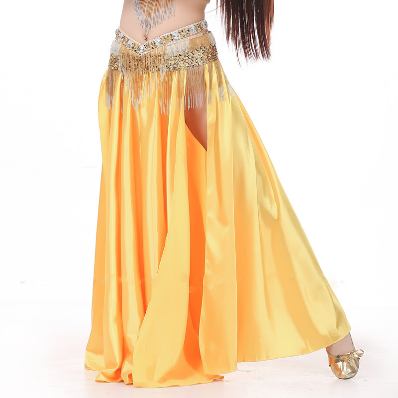 11 Colors Performance Women Dancewear Green Belly Dance Skirt Side Split Elastic Waist Silk Satin Skirts For Bellydance