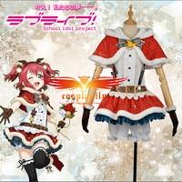 Anime LoveLive!SunShine!! Aqours Ruby Kurosawa Christmas Awakening Clothing Lovely Red Cosplay Costume Deer Horn Hairband Gloves