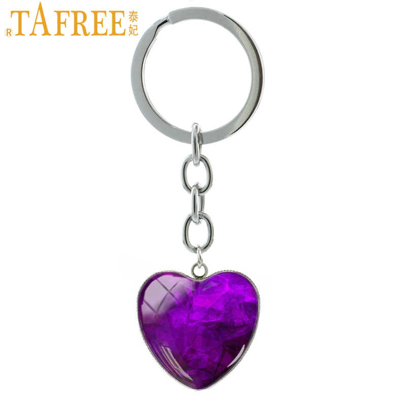 TAFREE Purple Crystal Photo Heart Pendant Keychain Classic Elegant Key Chain Car Key Holder Fantasy Charm Women Gift Jewelry H58