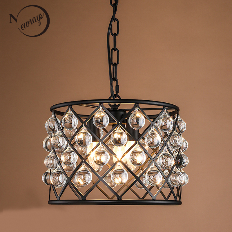 Retro crystal drops Chandelier E14 hanging lamp modern lustres light for Hallway Kitchen Dining Room Bedroom Living Room bedroom nordic country style simple retro octagonal crystal lamp living room dining room bedroom chandelier e14 led hanging lamp light