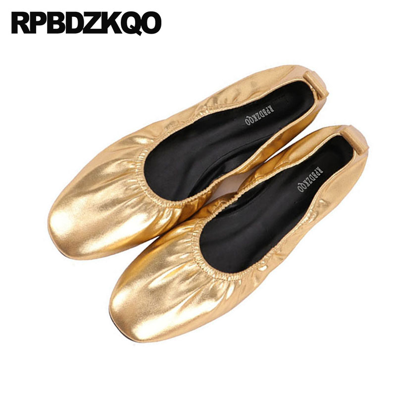 11 Gold Women 10 Vintage Foldable Ballet Flats Chinese Square Toe Elastic Roll Up Ballerina Metallic Large Size Shoes Retro 2018 blue sequin large size gold pointy ballerina sparkling women chinese wedding shoes flats bow party ballet 10 glitter loafers