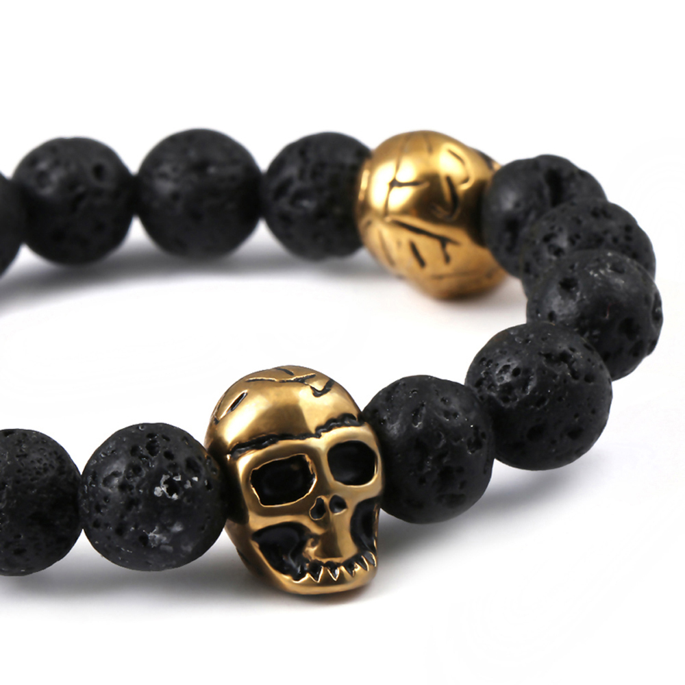 bracelet genuine in item stainless and bangle bracelets steel skull charm brown north men pulsera leather jewelry for women free from shipping northskull