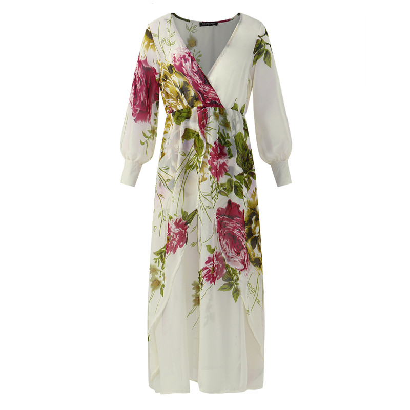 2018 Women Chiffon Maxi Long Dress Sheer Floral Party Beach Sexy Long  Sleeve Elegant Boho Shift Sundress Vestidos Plus Size 5XL-in Dresses from  Women s ... 5e312507bcf7