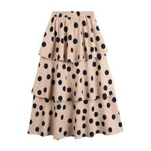 Women High Waist Chiffon Skirt Spring New Womens Sweet Polka Dot Print Tired Cake Skirts Black White Khaki Midi A-Line