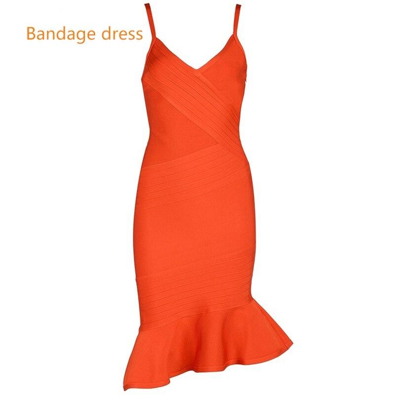 2017 New Women Bandage Dress Orange V Neck Sleeveless Vestidos Ruffles Mid-Calf Length Celebrity Evening Party Dresses LB-M364